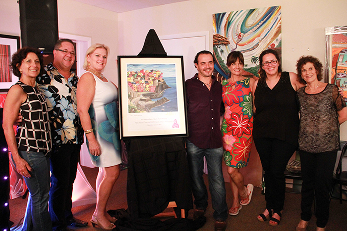 ChamberSOUTH's Executive Board, including Mary Scott Russell, President of ChamberSOUTH, and Arelis Ferro, Business and Events Manager of ChamberSOUTH, along with Veronica B. Flores, Executive Vice President of First National Bank of South Miami, and Cuban artist Ariel Celestino Hernandez.
